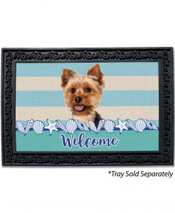 Stripes and Seashells Yorkie Doormat