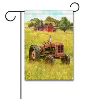 Rustic Barn Tractor - Garden Flag - 12.5'' x 18''