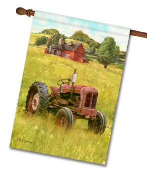 Rustic Barn Tractor - House Flag - 28'' x 40''