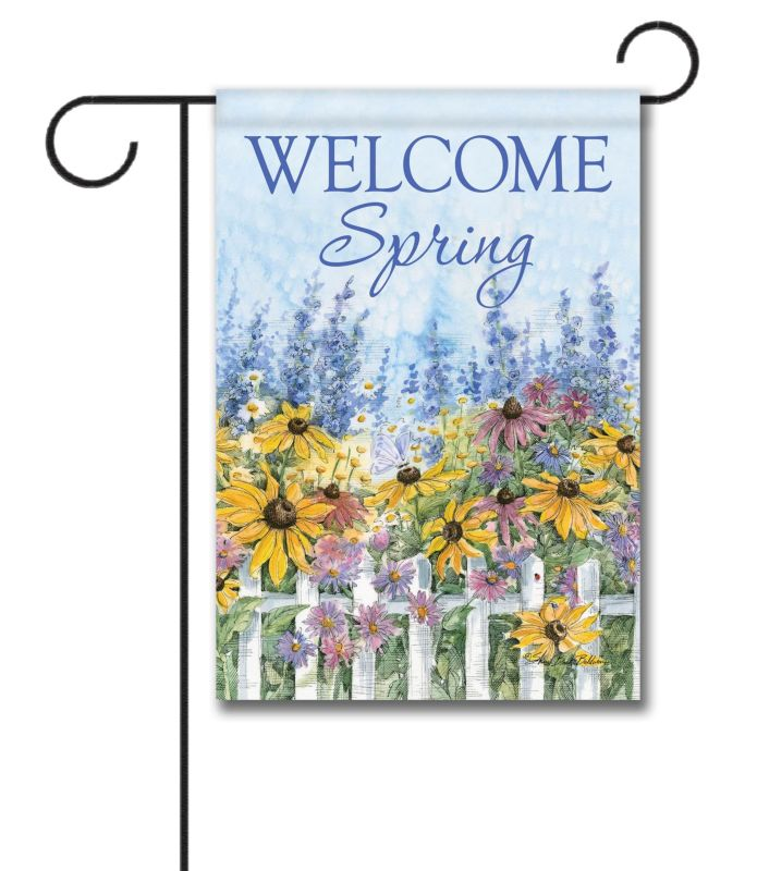 Welcome Spring Flowers - Garden Flag - 12.5'' x 18''
