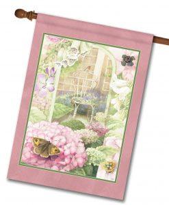 Peaceful Butterfly Hydrangea - House Flag - 28'' x 40''