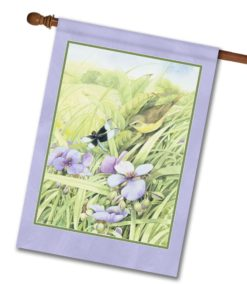Goldfinch in Wildflowers - House Flag - 28'' x 40''
