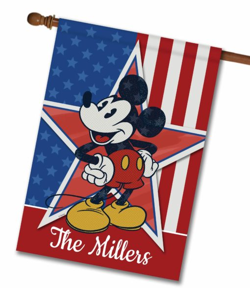 """Personalized Stars and Stripes Mickey - House Flag - 28"""" x 40"""""""