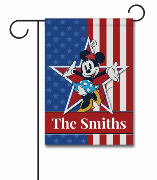 Personalized Stars and Stripes Minnie - Garden Flag - 12.5'' x 18''