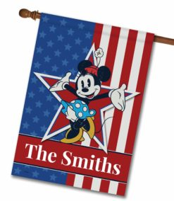 "Personalized Stars and Stripes Minnie - House Flag - 28"" x 40"""