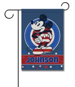 Personalized Welcome Red White & Blue Stars Mickey - Garden Flag - 12.5'' x 18''