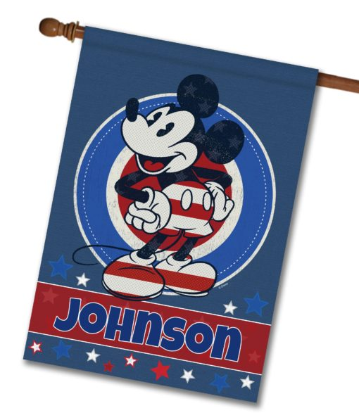 "Personalized Welcome Red White & Blue Stars Mickey - House Flag - 28"" x 40"""
