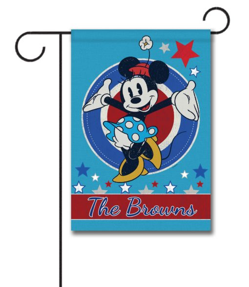 Personalized Welcome Red White & Blue Stars Minnie - Garden Flag - 12.5'' x 18''