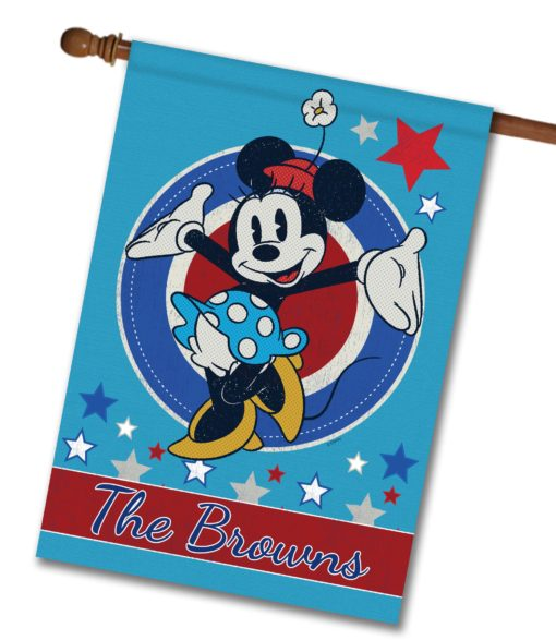 """Personalized Welcome Red White & Blue Stars Minnie - House Flag - 28"""" x 40"""""""