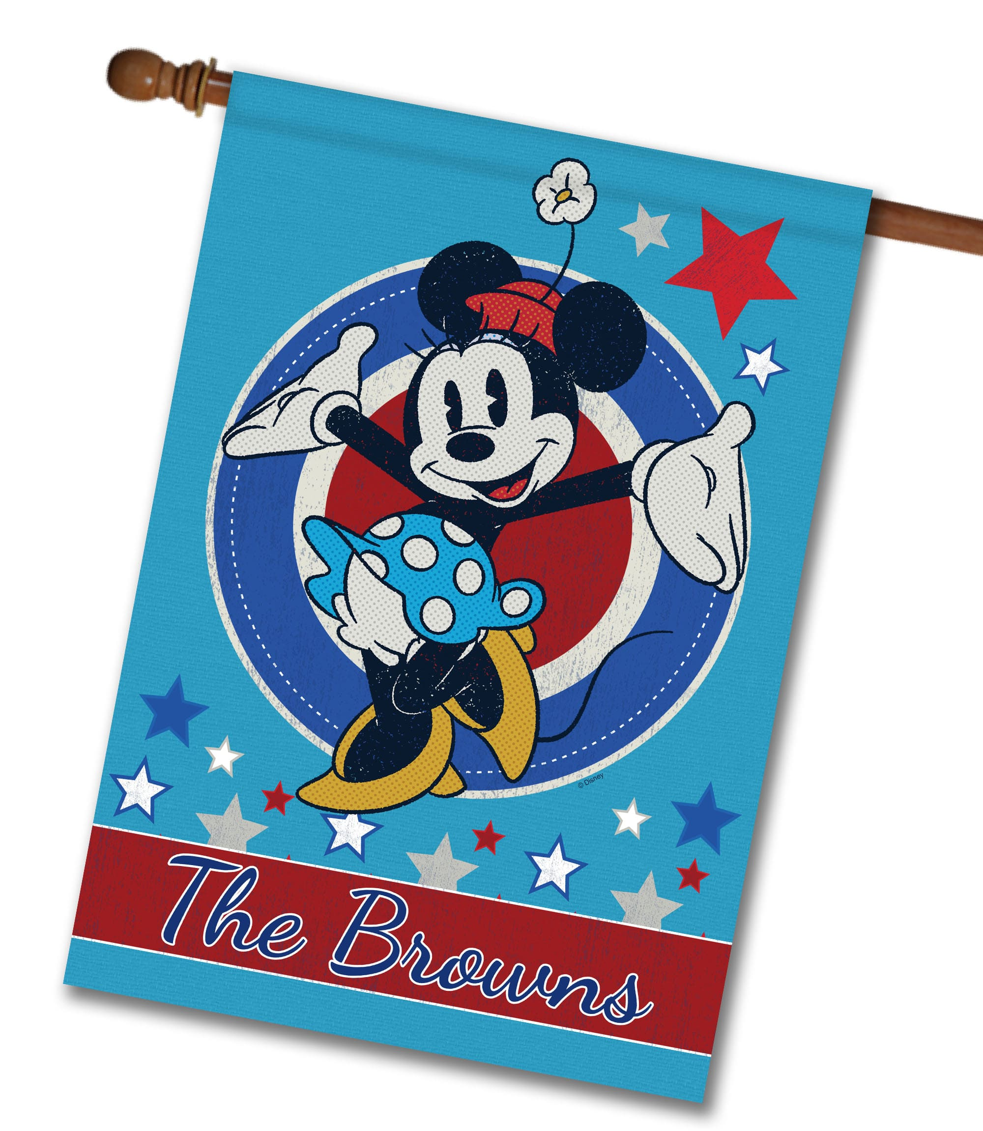 "Personalized Welcome Red White & Blue Stars Minnie - House Flag - 28"" x 40"""