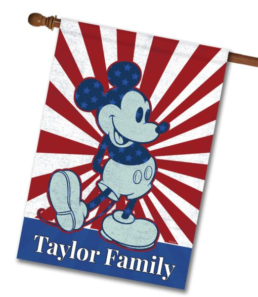 """Personalized Starburst Mickey - House Flag - 28"""" x 40"""""""