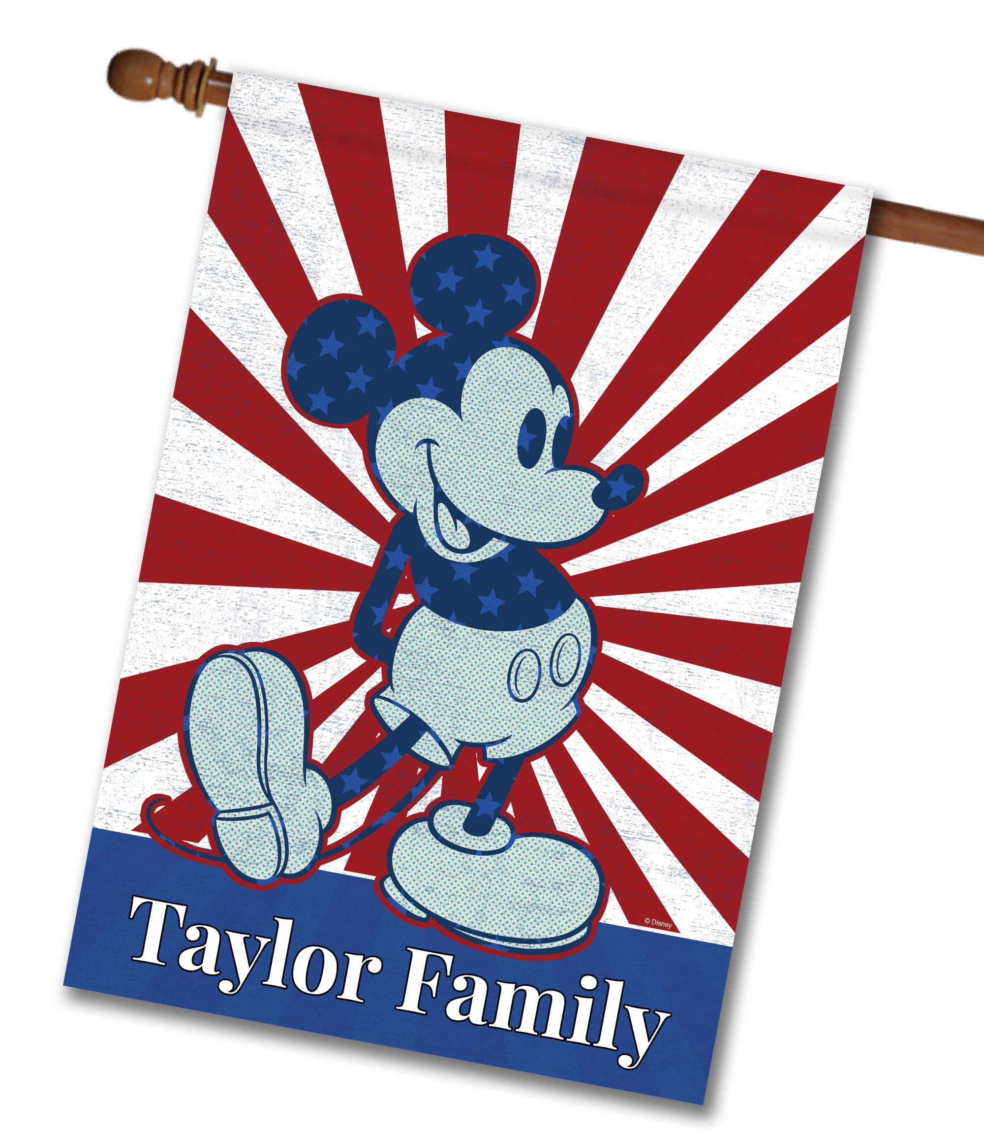 "Personalized Starburst Mickey - House Flag - 28"" x 40"""