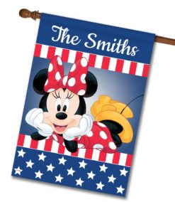 "Personalized Patriotic Minnie - House Flag - 28"" x 40"""
