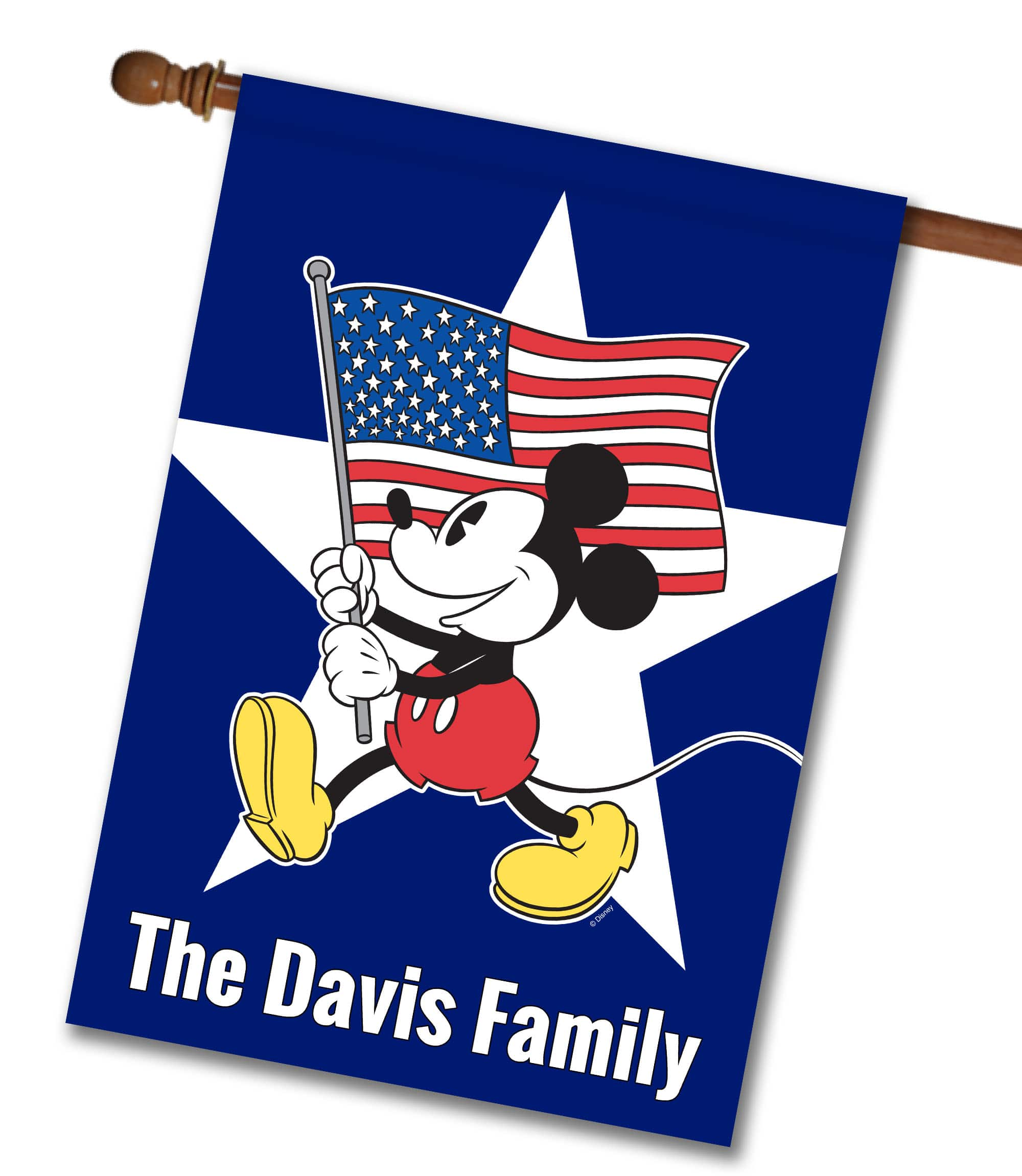 "Personalized Freedom Mickey - House Flag - 28"" x 40"""