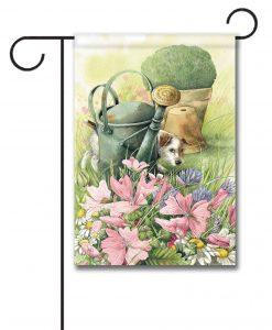 Dog in the Garden - Garden Flag - 12.5'' x 18''