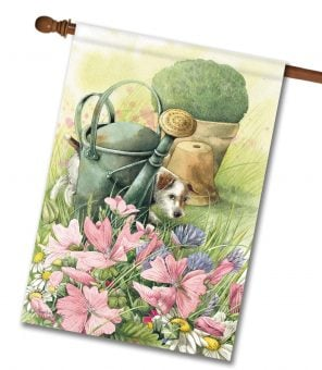 Dog in the Garden - House Flag - 28'' x 40''
