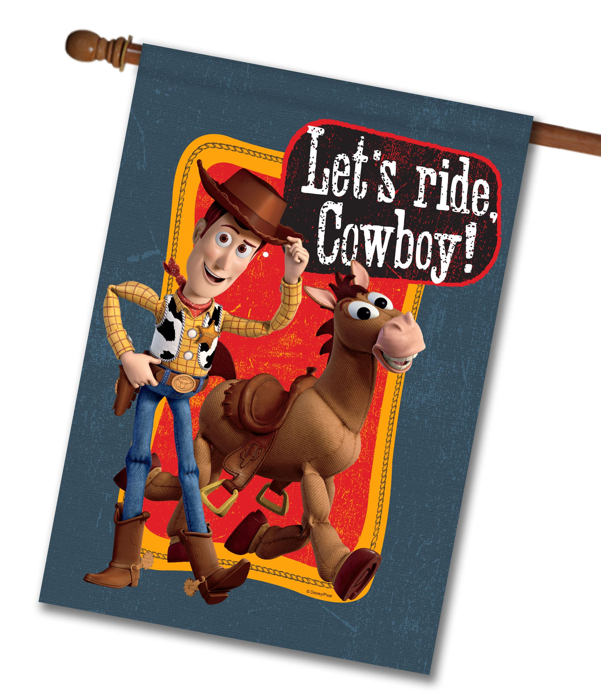 Let's Ride Cowboy Woody - House Flag - 28'' x 40''