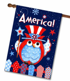 America Owl Patriotic House Flag