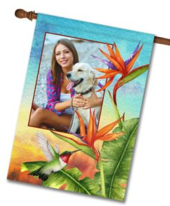 Bird of Paradise Summer Photo House Flag