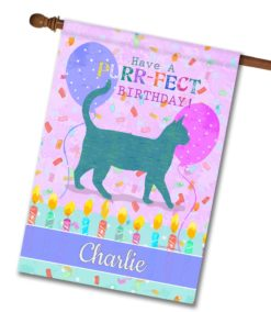 """Personalized Purr-fect Birthday - House Flag - 28"""" x 40"""""""