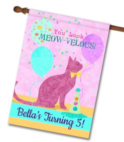 """Personalized You Look Meow-velous - House Flag - 28"""" x 40"""""""