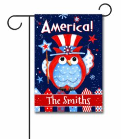 Personalized Patriotic Owl - Garden Flag - 12.5'' x 18''