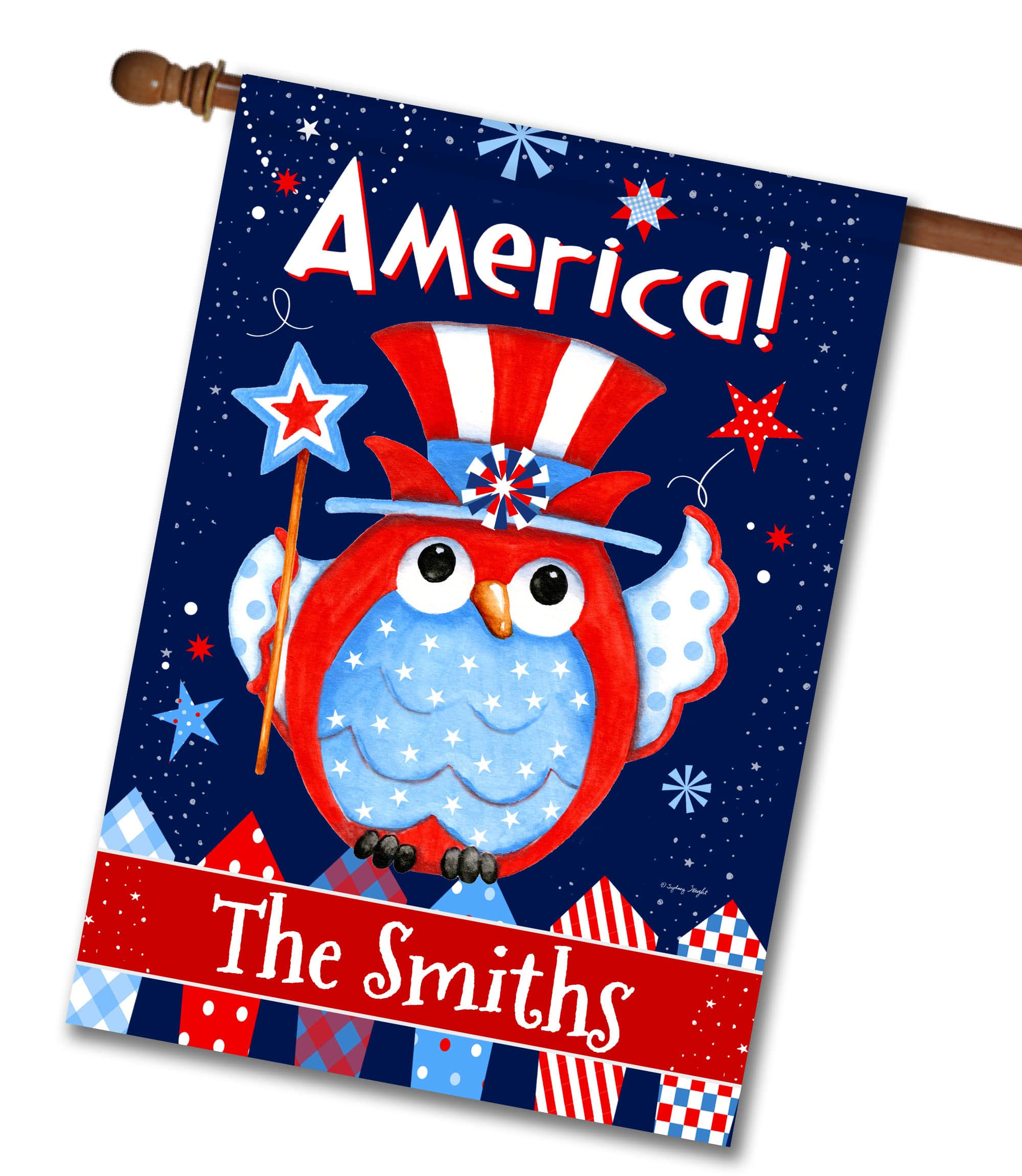 "Personalized Patriotic Owl - House Flag - 28"" x 40"""