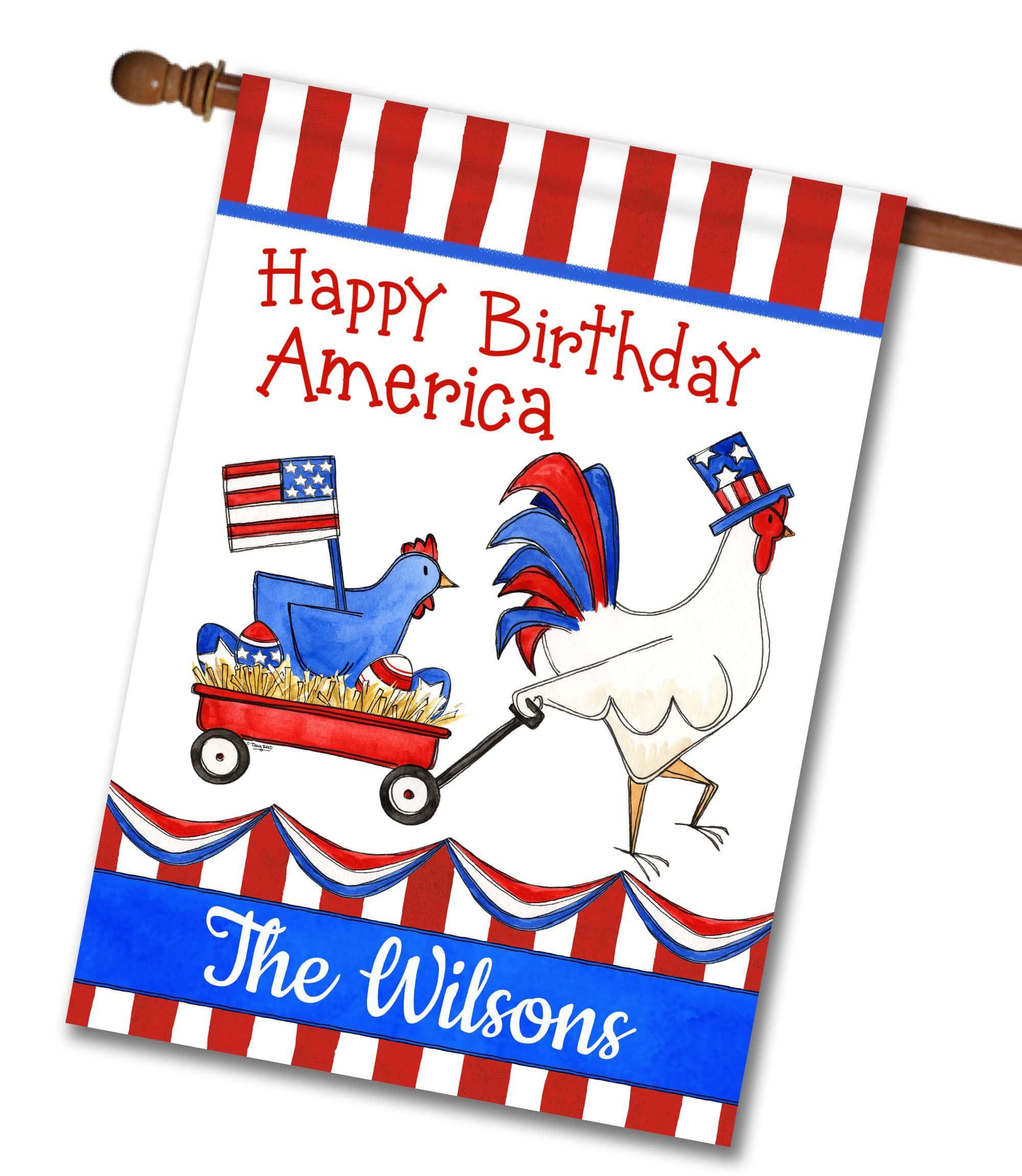 "Personalized Patriotic Poultry - House Flag - 28"" x 40"""