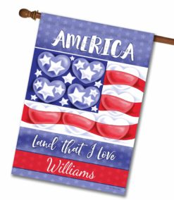 Personalized American Heart Patriotic House Flag