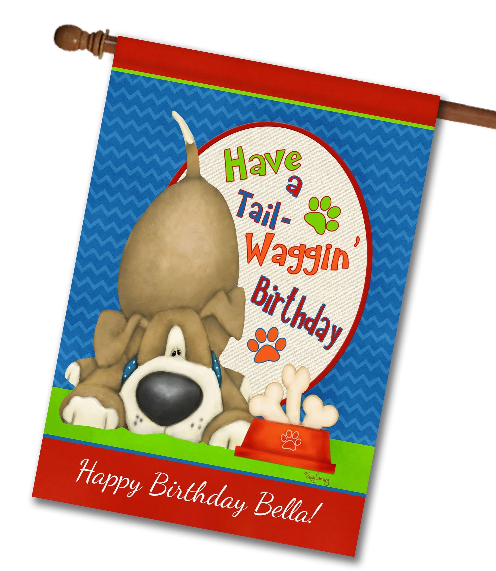 Personalized Tail-Waggin Birthday - House Flag - 28'' x 40''