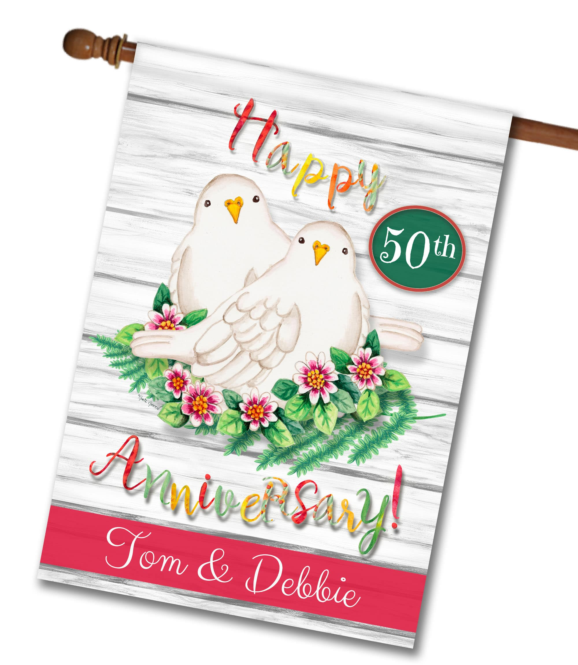 Personalized Happy Anniversary Dove Love House Flag 28