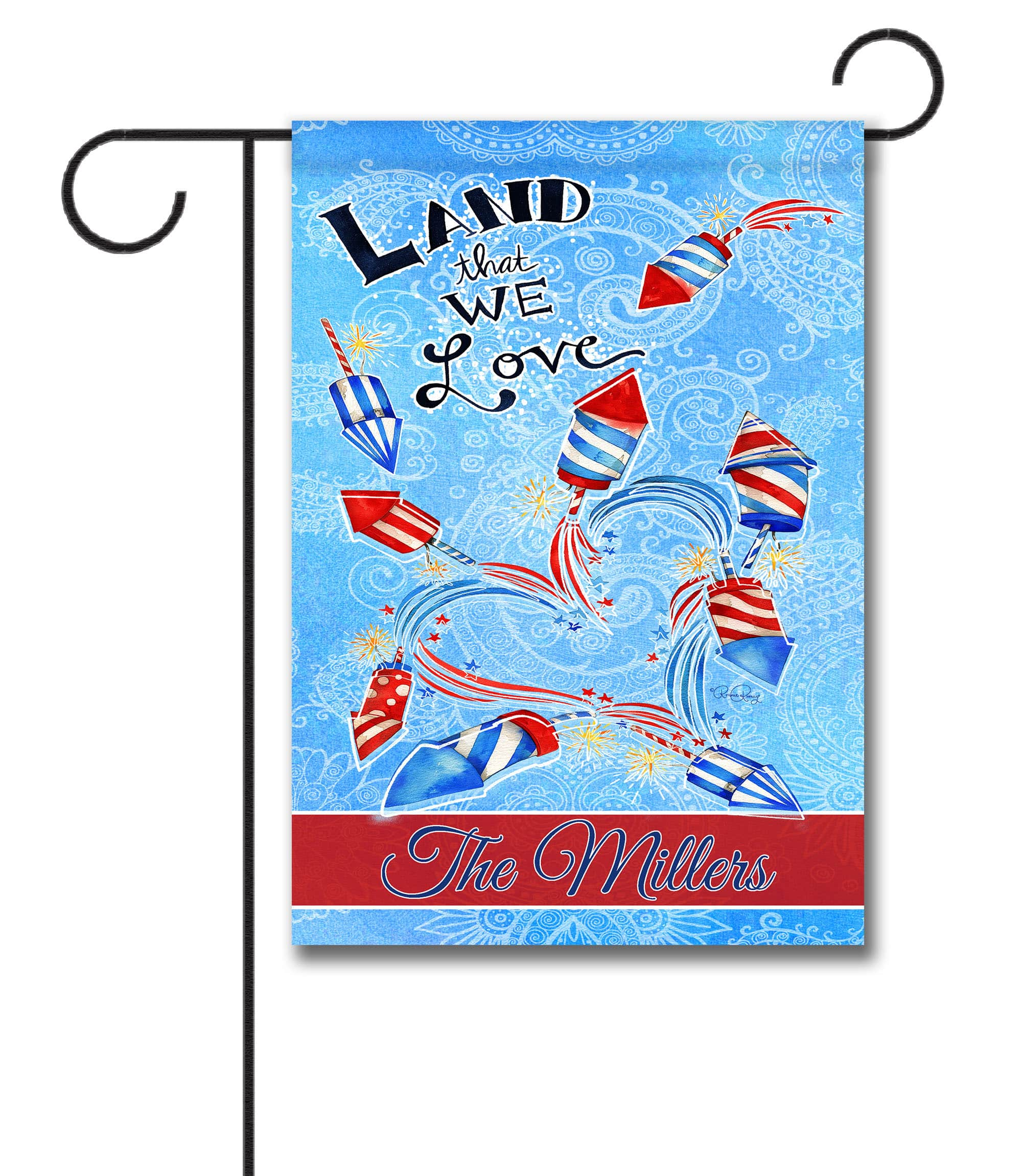 Personalized Land That We Love Fireworks - Garden Flag - 12.5'' x 18''