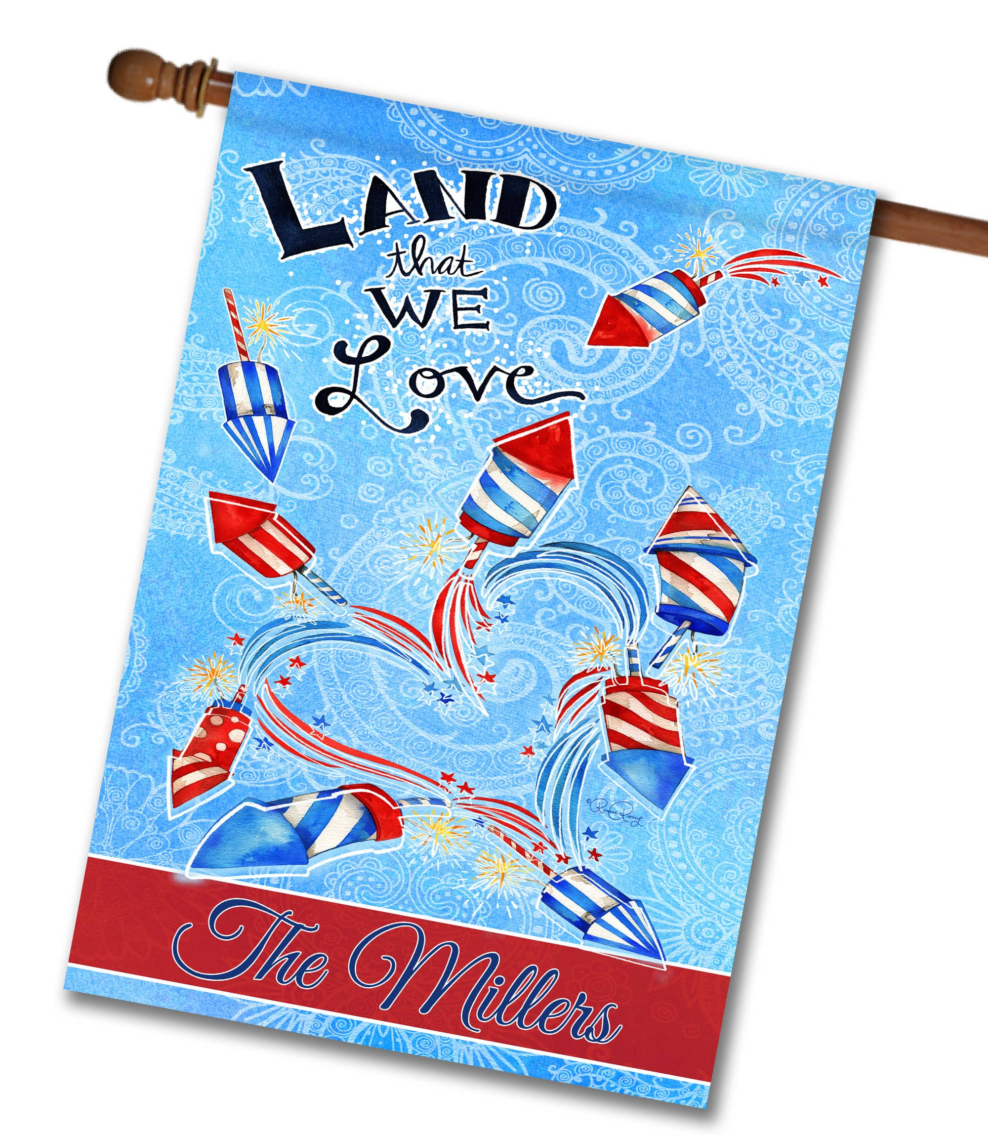 "Personalized Land That We Love Fireworks - House Flag - 28"" x 40"""