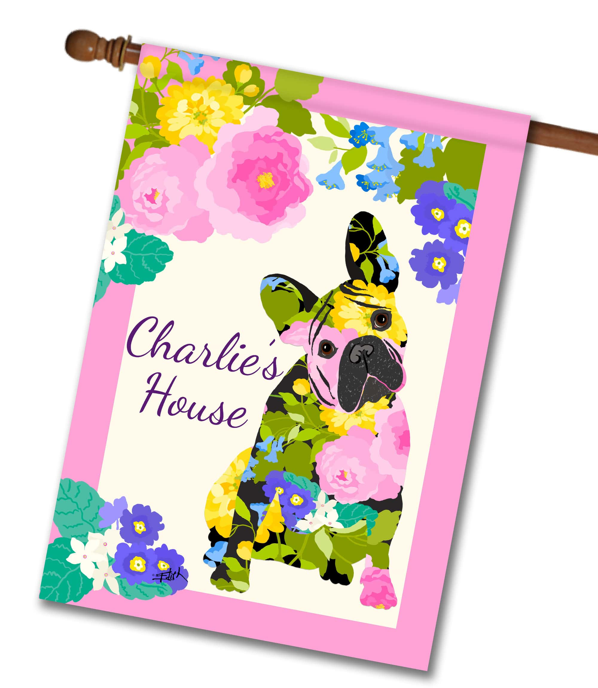 Personalized Spring Time French Bulldog - House Flag - 28