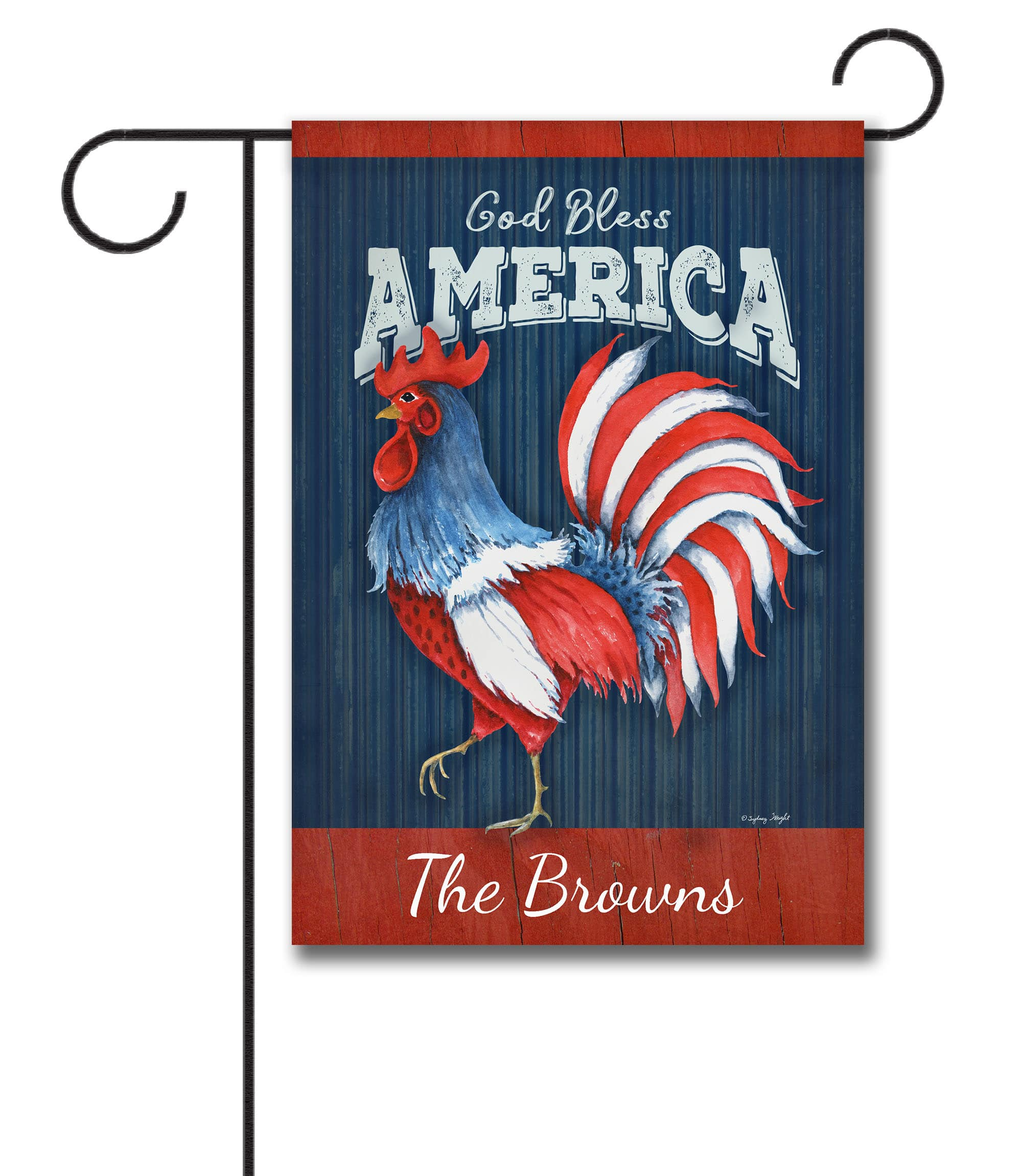 Personalized God Bless America Rooster - Garden Flag - 12.5'' x 18''