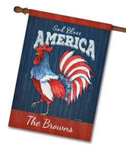 "Personalized God Bless America Rooster  - House Flag - 28"" x 40"""