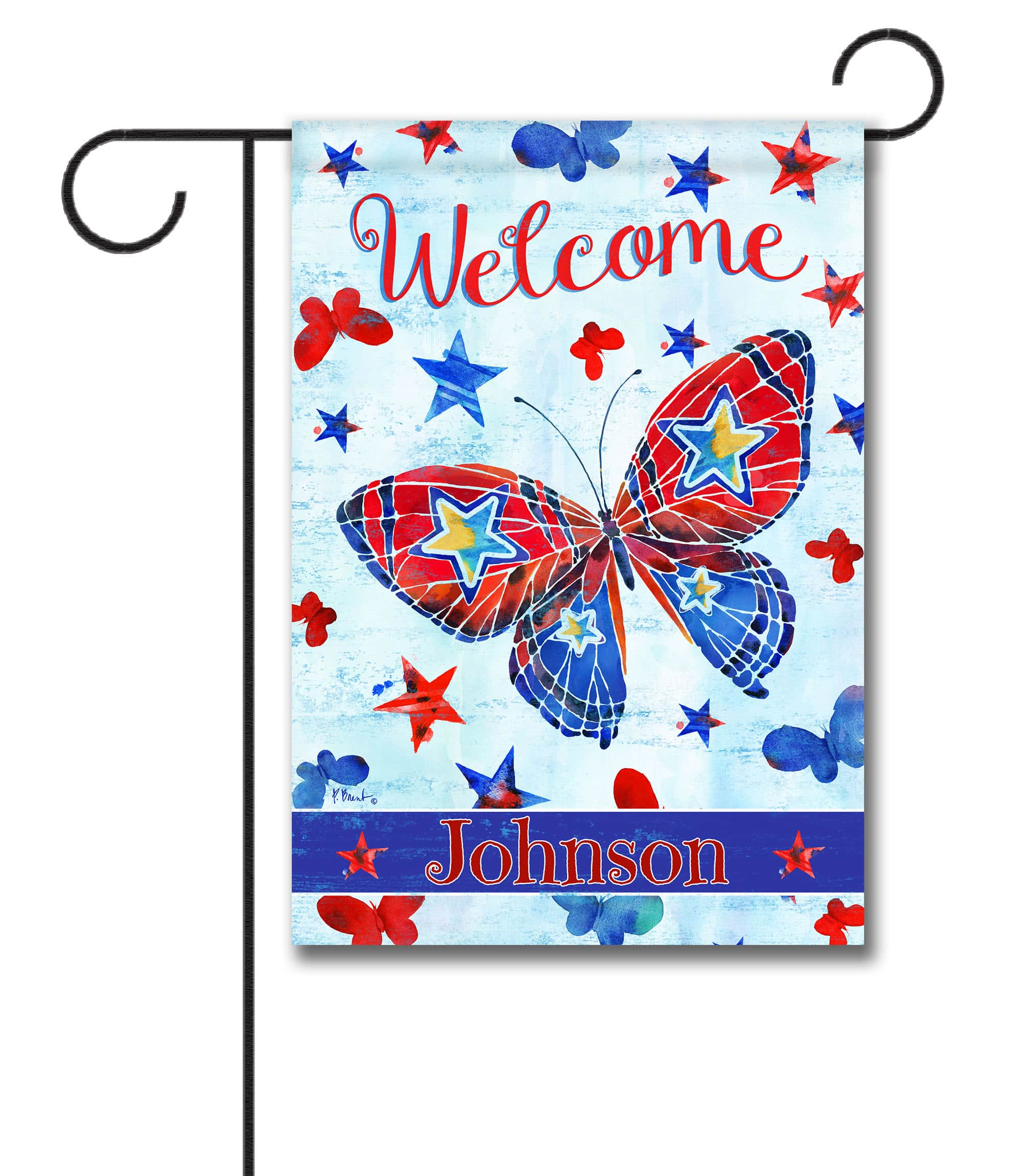 Personalized Patriotic Butterflies - Garden Flag - 12.5'' x 18''