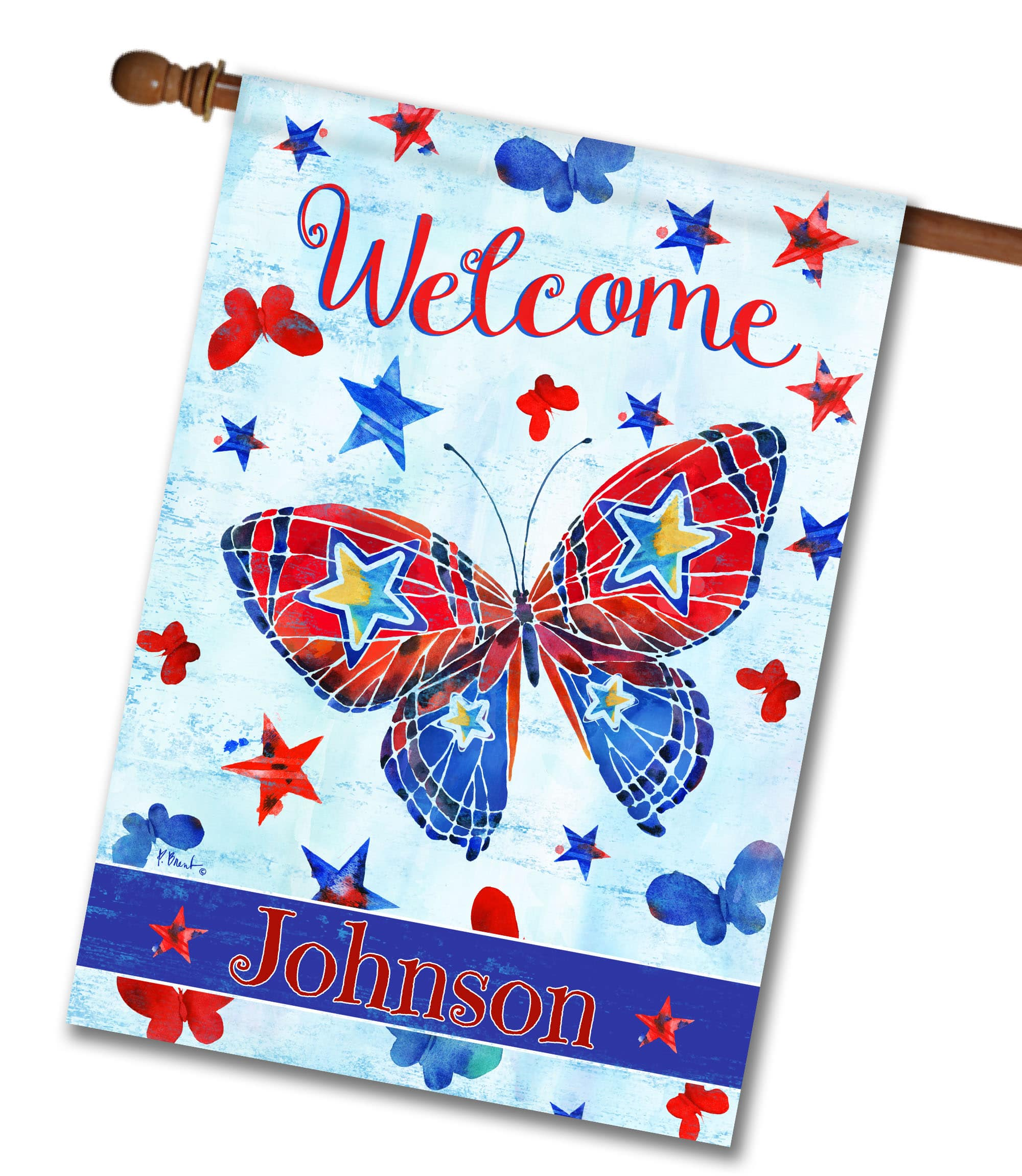 "Personalized Patriotic Butterflies - House Flag - 28"" x 40"""