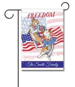Personalized Freedom Corgi - Garden Flag - 12.5'' x 18''