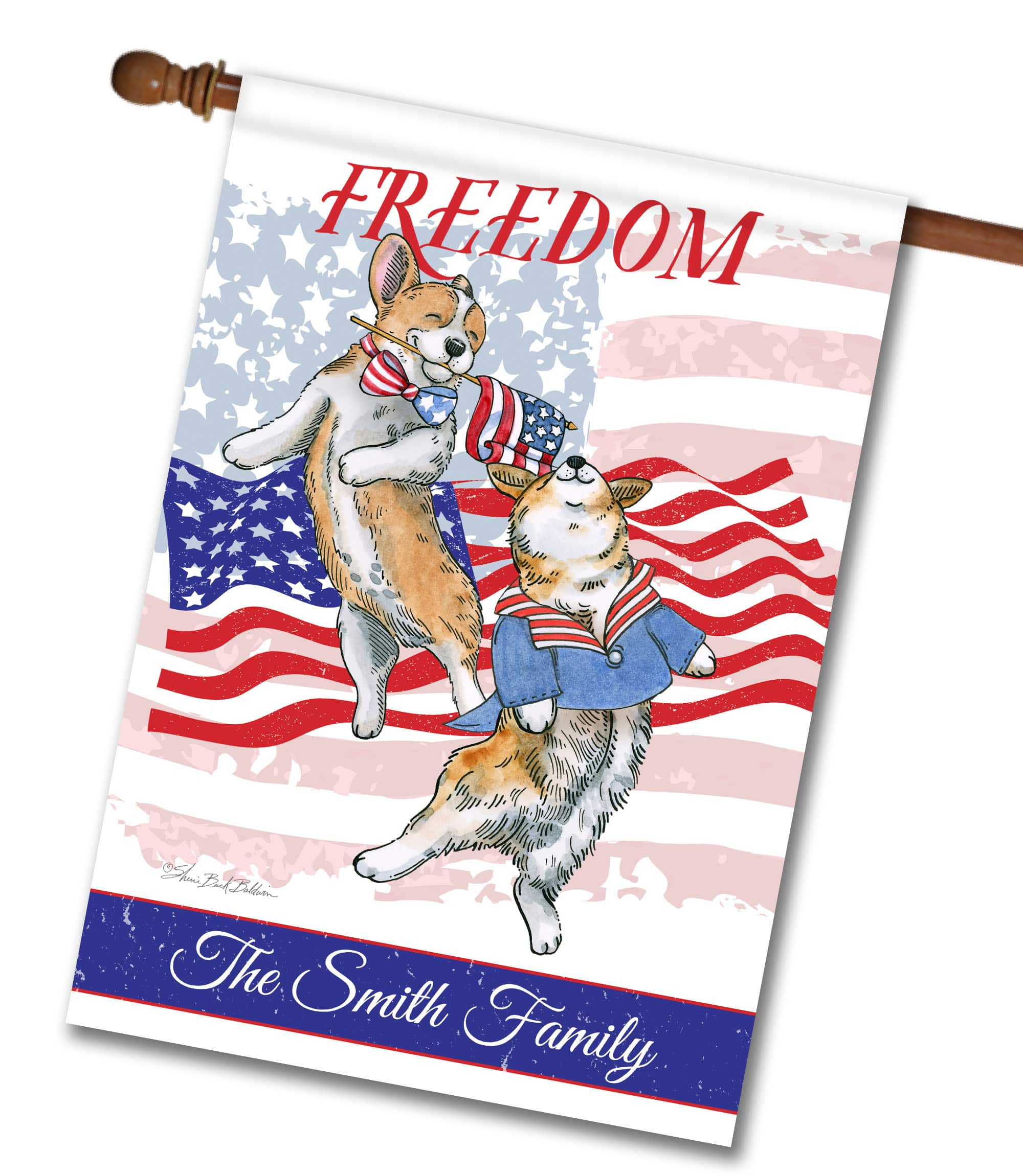 "Personalized Freedom Corgi - House Flag - 28"" x 40"""