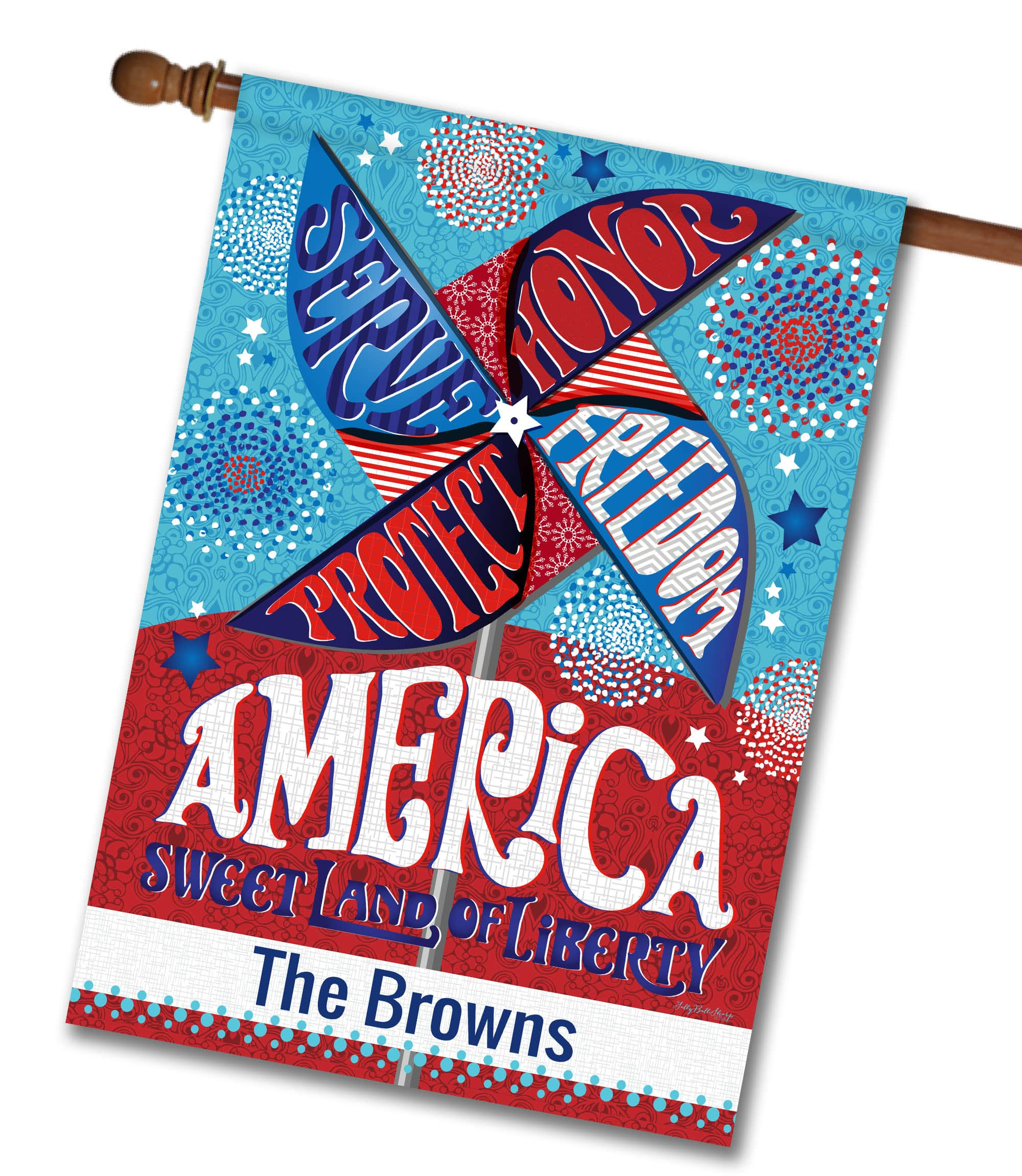"Personalized Patriotic Pinwheel - House Flag - 28"" x 40"""