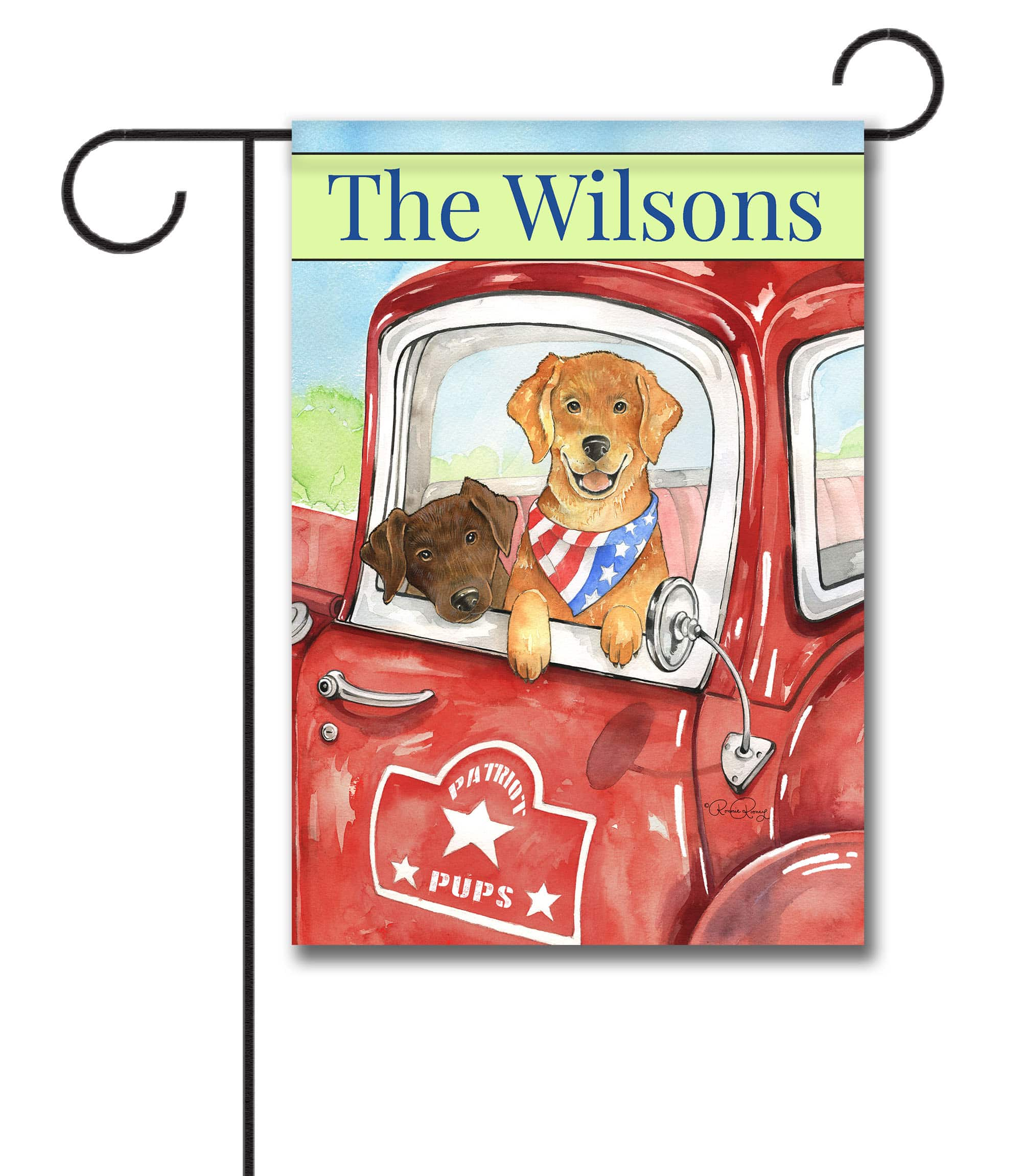 Personalized Patriotic Dogs in a Truck - Garden Flag - 12.5'' x 18''