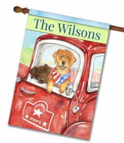 "Personalized Patriotic Dogs in a Truck - House Flag - 28"" x 40"""