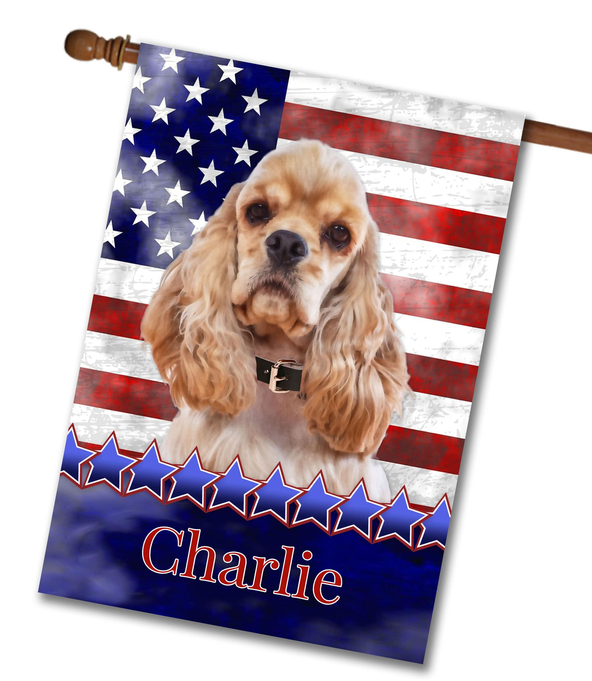 Personalized Stars and Stripes Cocker Spaniel - House Flag - 28'' x 40''