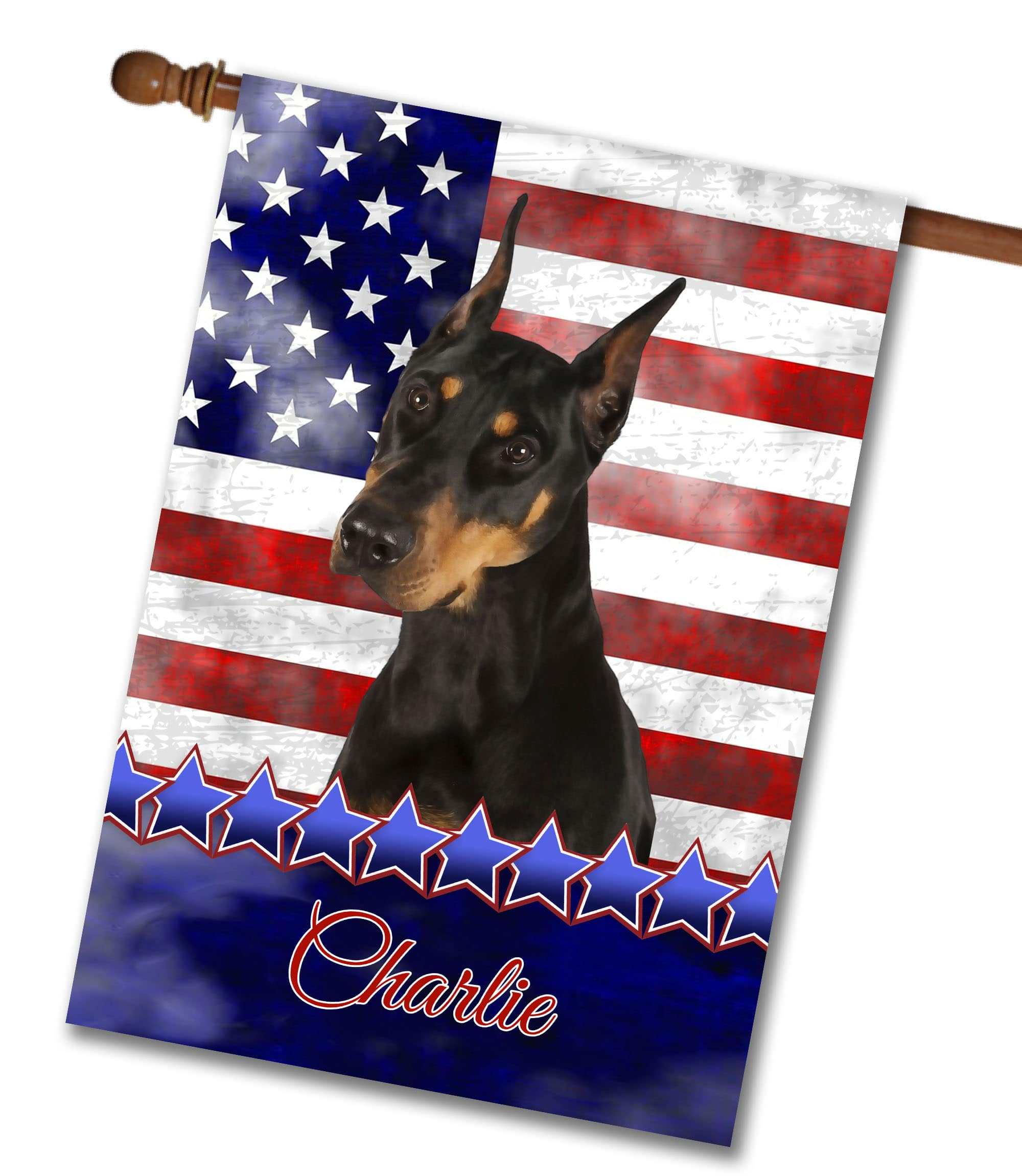 Personalized Stars and Stripes Doberman - House Flag - 28'' x 40''