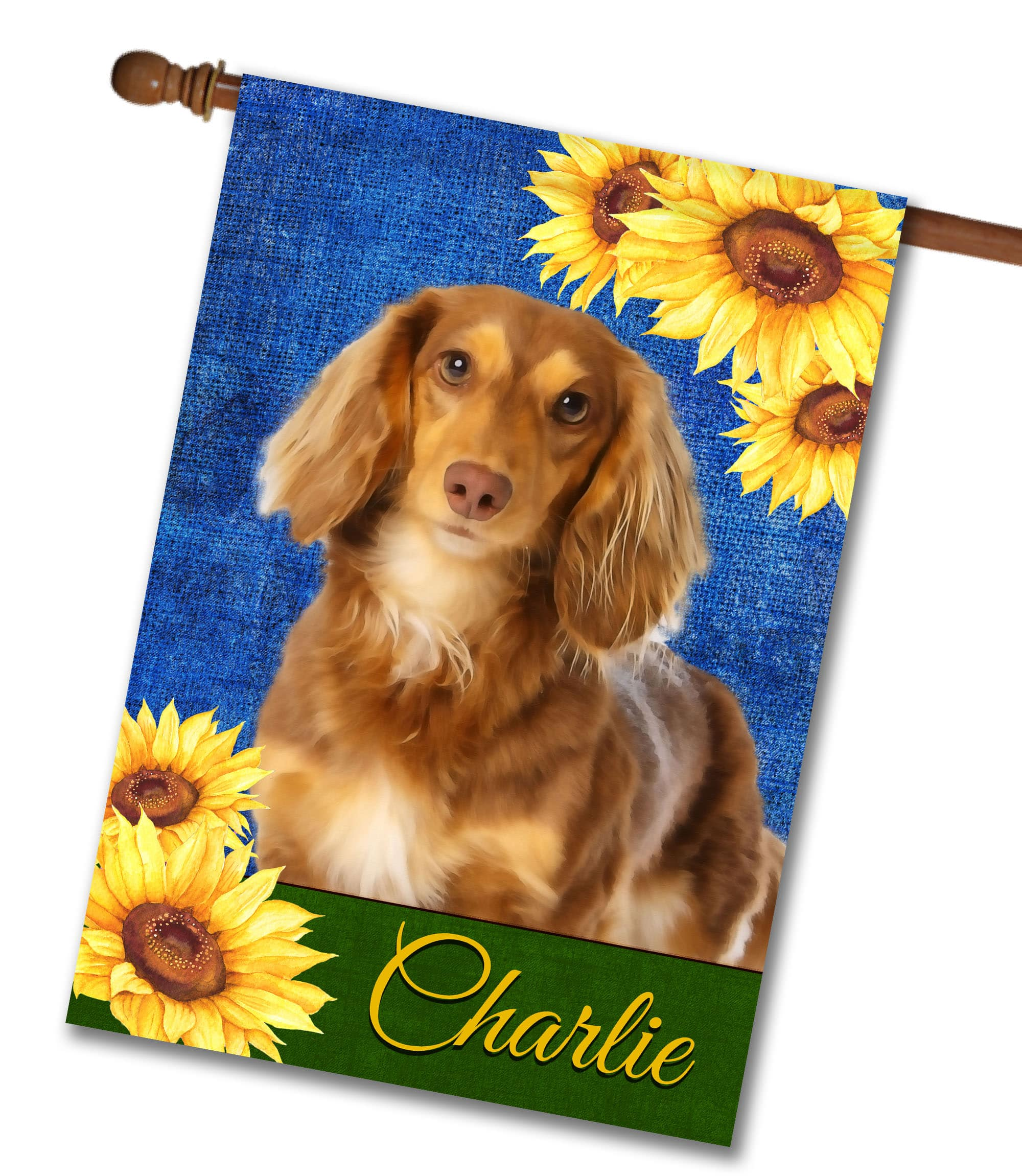Personalized Summer Sunflowers Brown Long Haired Dachshund