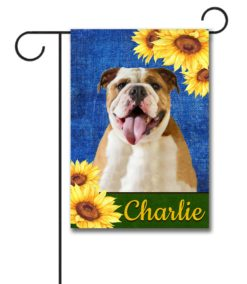 Personalized Sunflower Summer English Bulldog Garden Flag