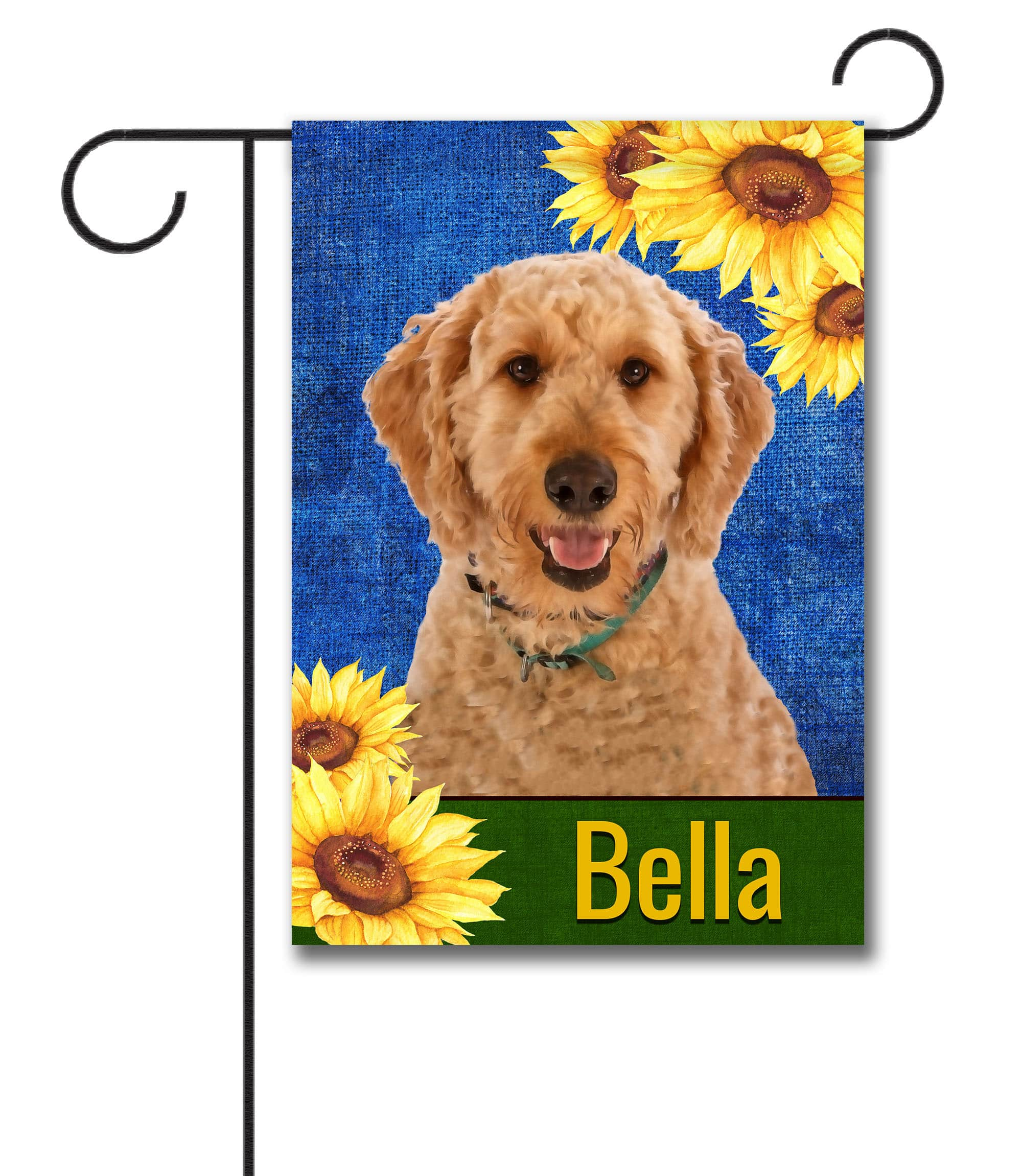 Personalized Summer Sunflowers Goldendoodle Garden Flag