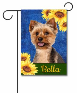 Personalized Sunflower Summer Yorkie Garden Flag