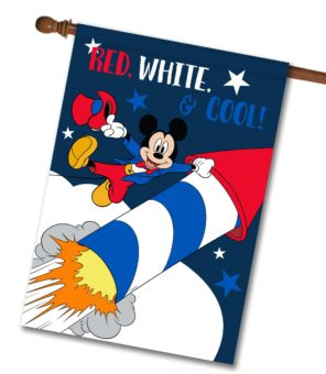 Firework Patriotic Mickey Mouse House Flag